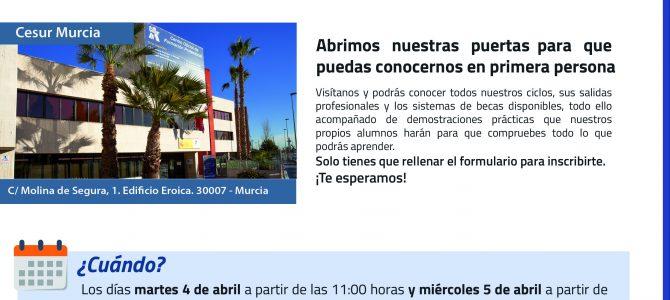 """4 y 5 de Abril, """"Jornada de Puertas Abiertas"""", CESUR Murcia."""